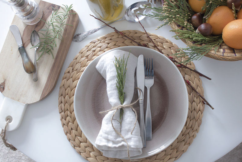 natural holiday table setting