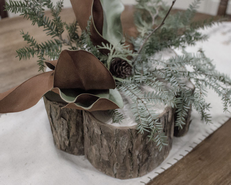 simple reclaimed wood centrepiece