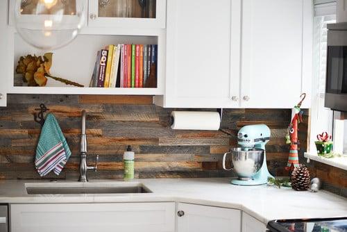 Reclaimed wood backsplash tiles