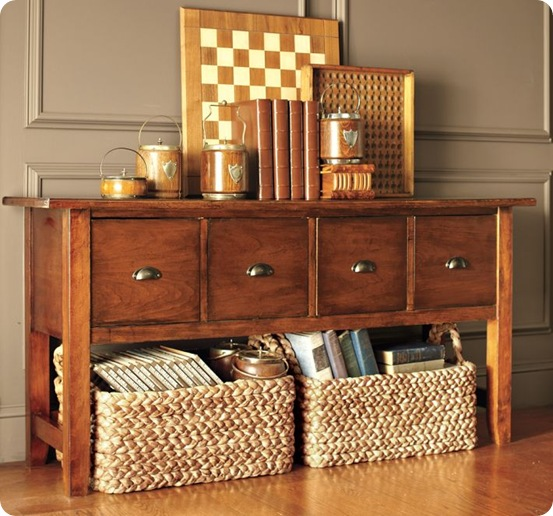 games console table storage and baskets