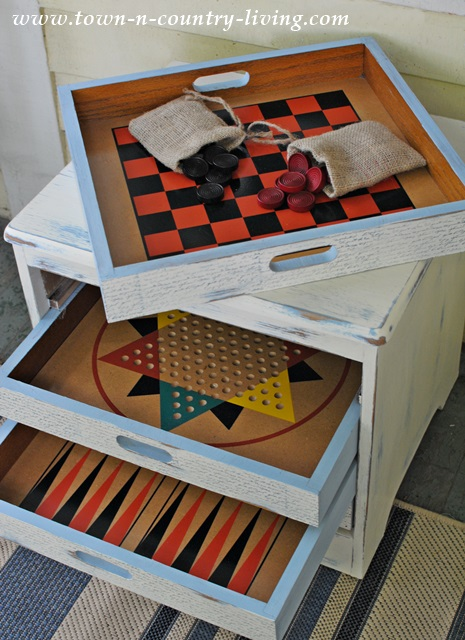 DIY game side table and drawers