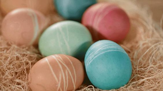 string-dyed Easter eggs