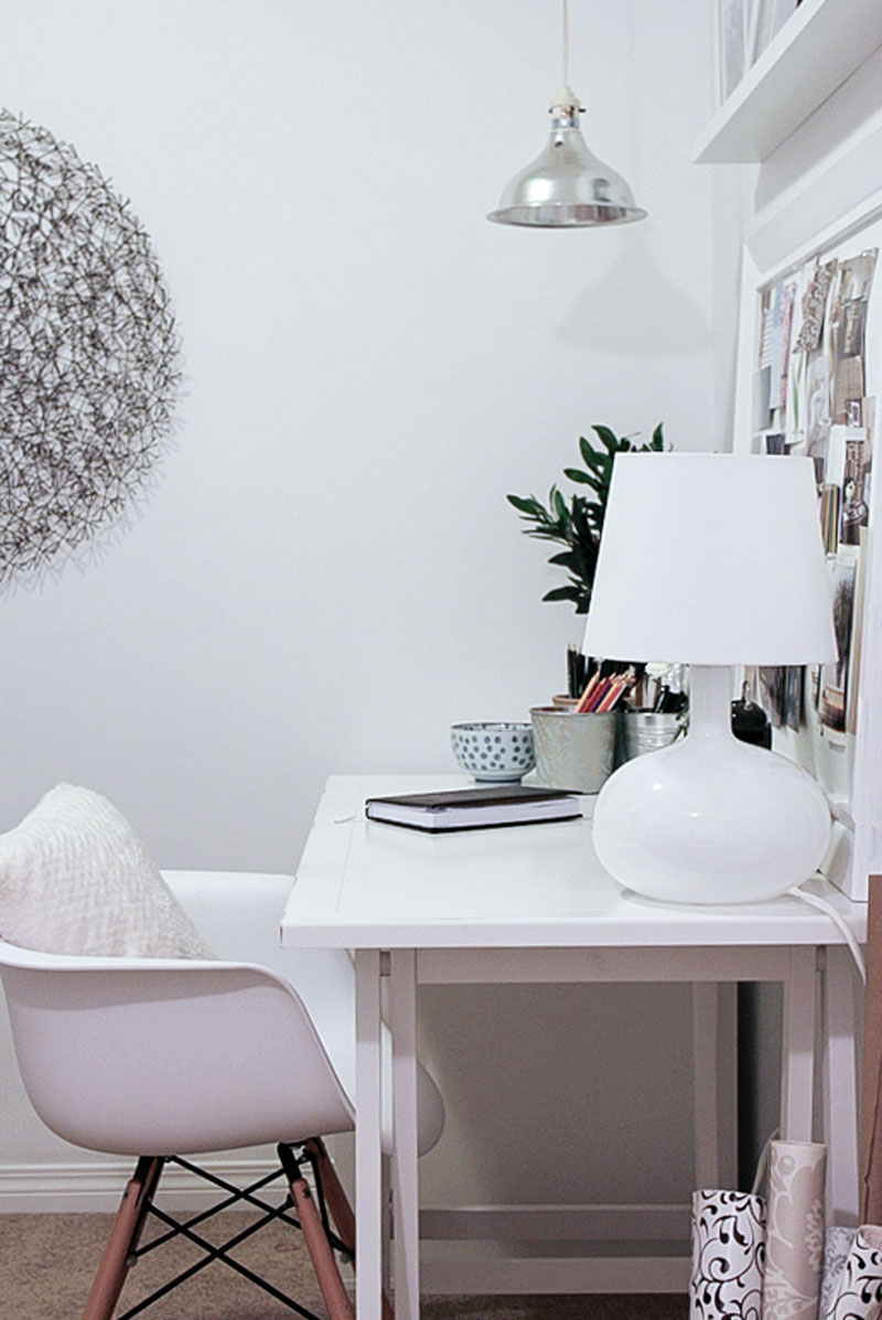 white home office reveal - one room challenge
