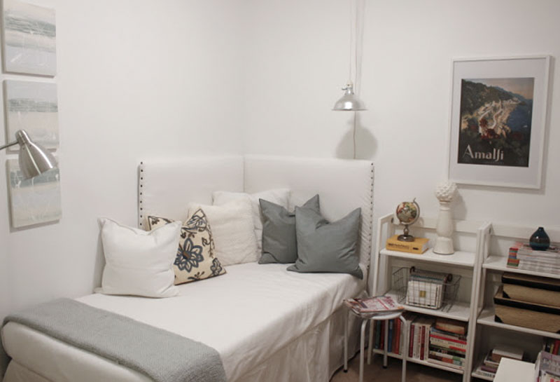 white corner daybed reading room
