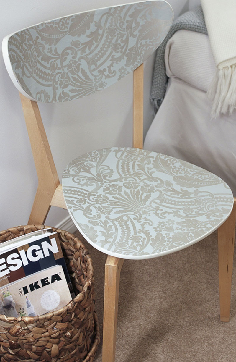 DIY IKEA wallpapered chair