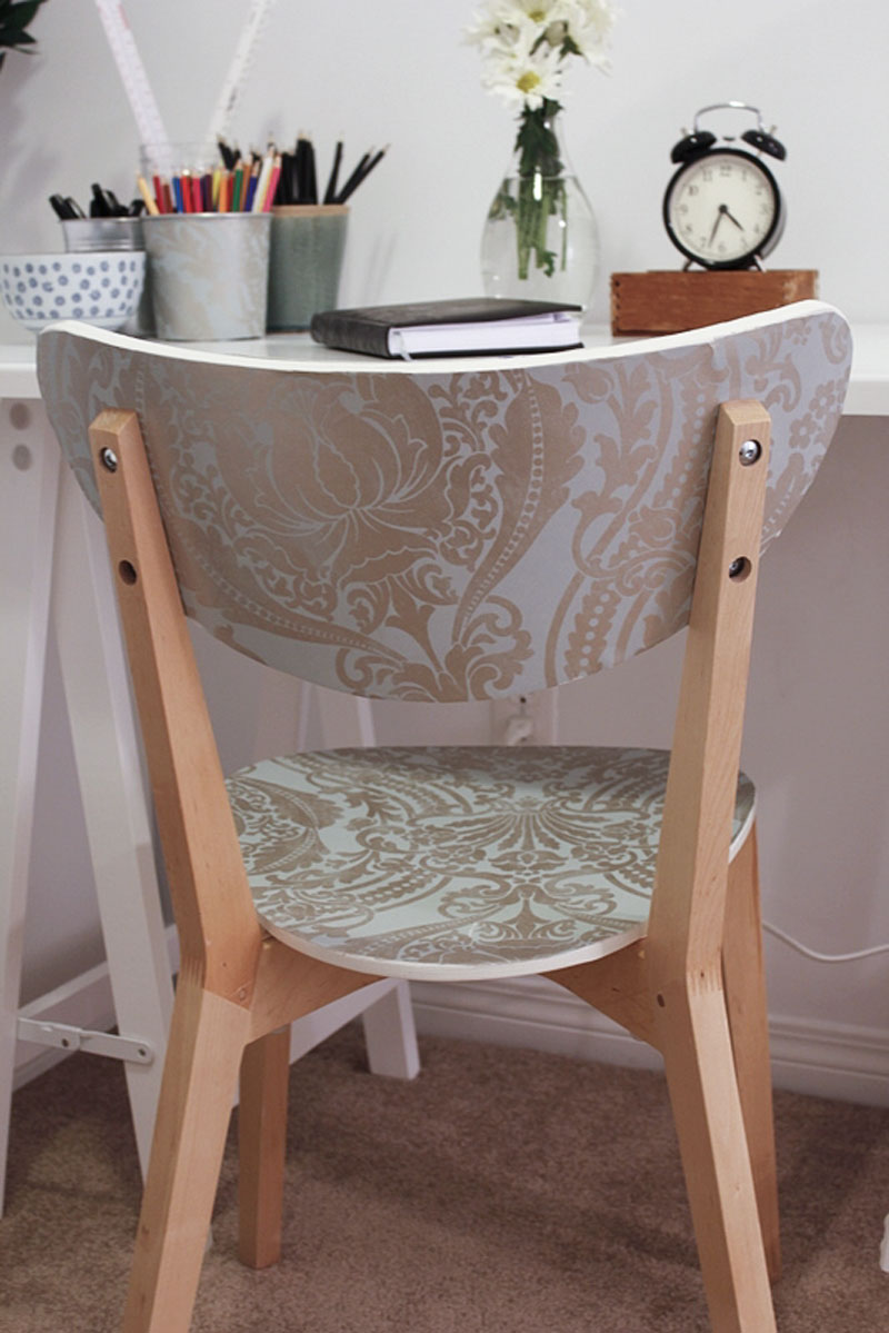 DIY IKEA chair hack with wallpaper