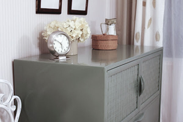 green painted dresser DIY