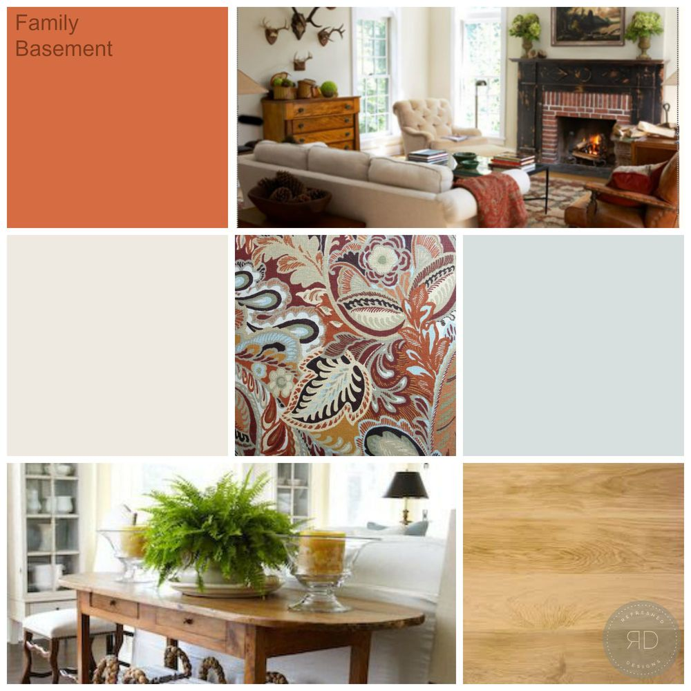 warm white basement family room mood board