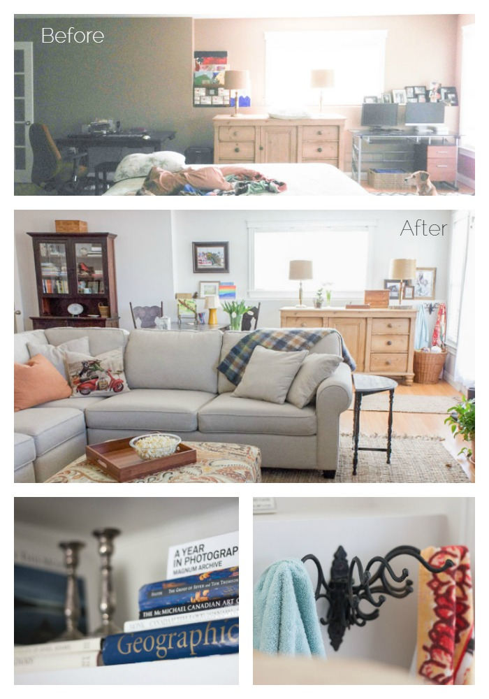 before and after open plan basement family room