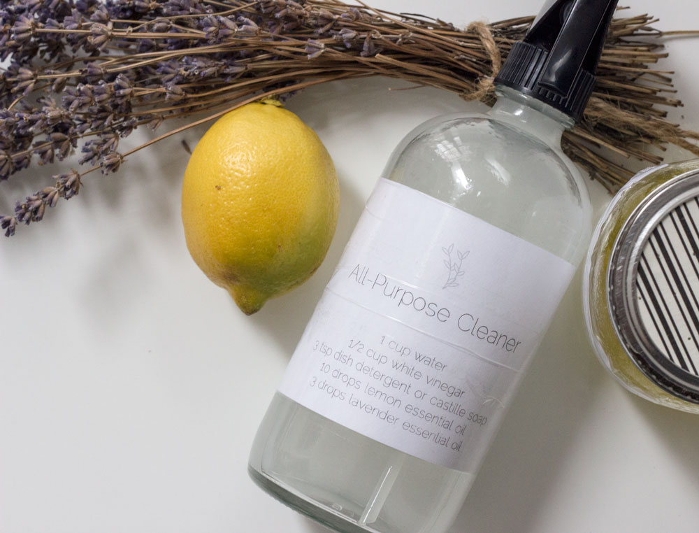 DIY homemade natural cleaners and downloadable printable labels