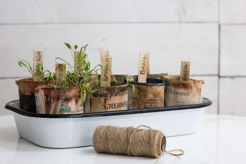DIY recycled newspaper seed planters