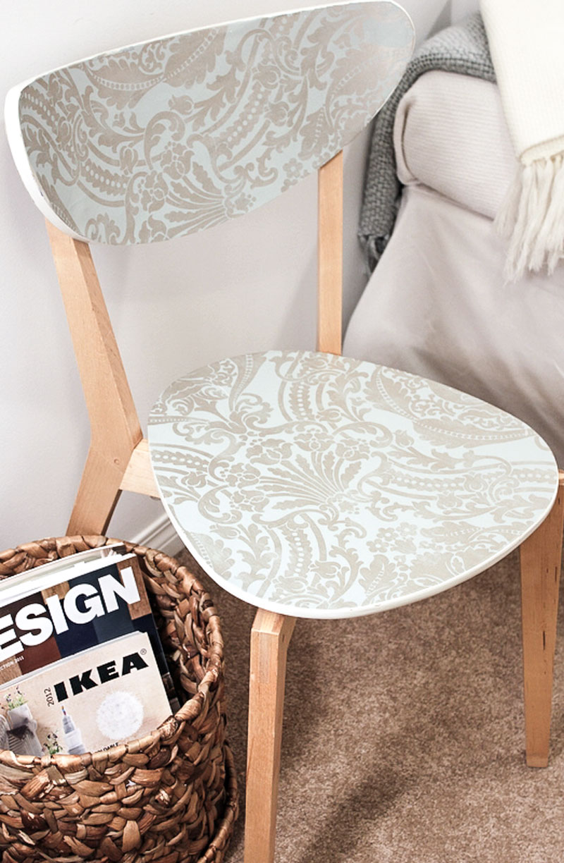 reclaim a damaged chair with wallpaper