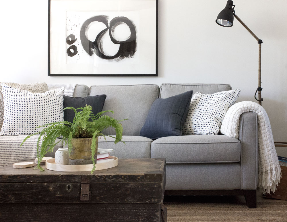 modern rustic living room refresh using Sherwin Williams Pure White