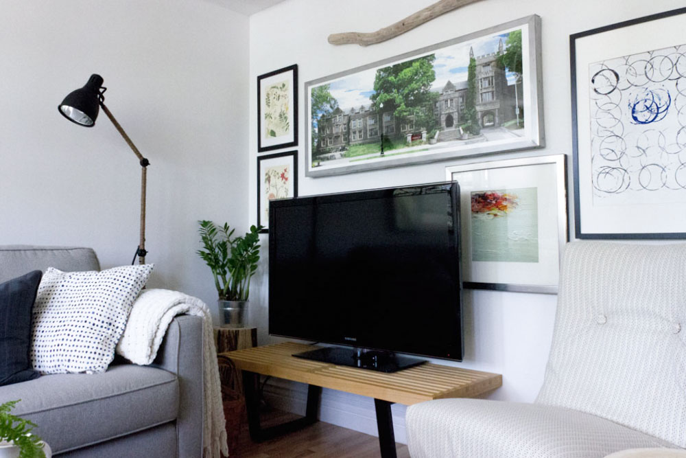 natural elements and artwork TV gallery wall