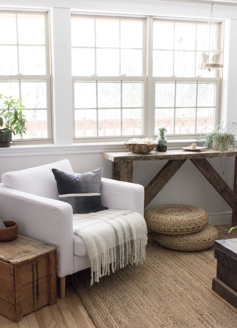rustic console table and hanging plant shelf