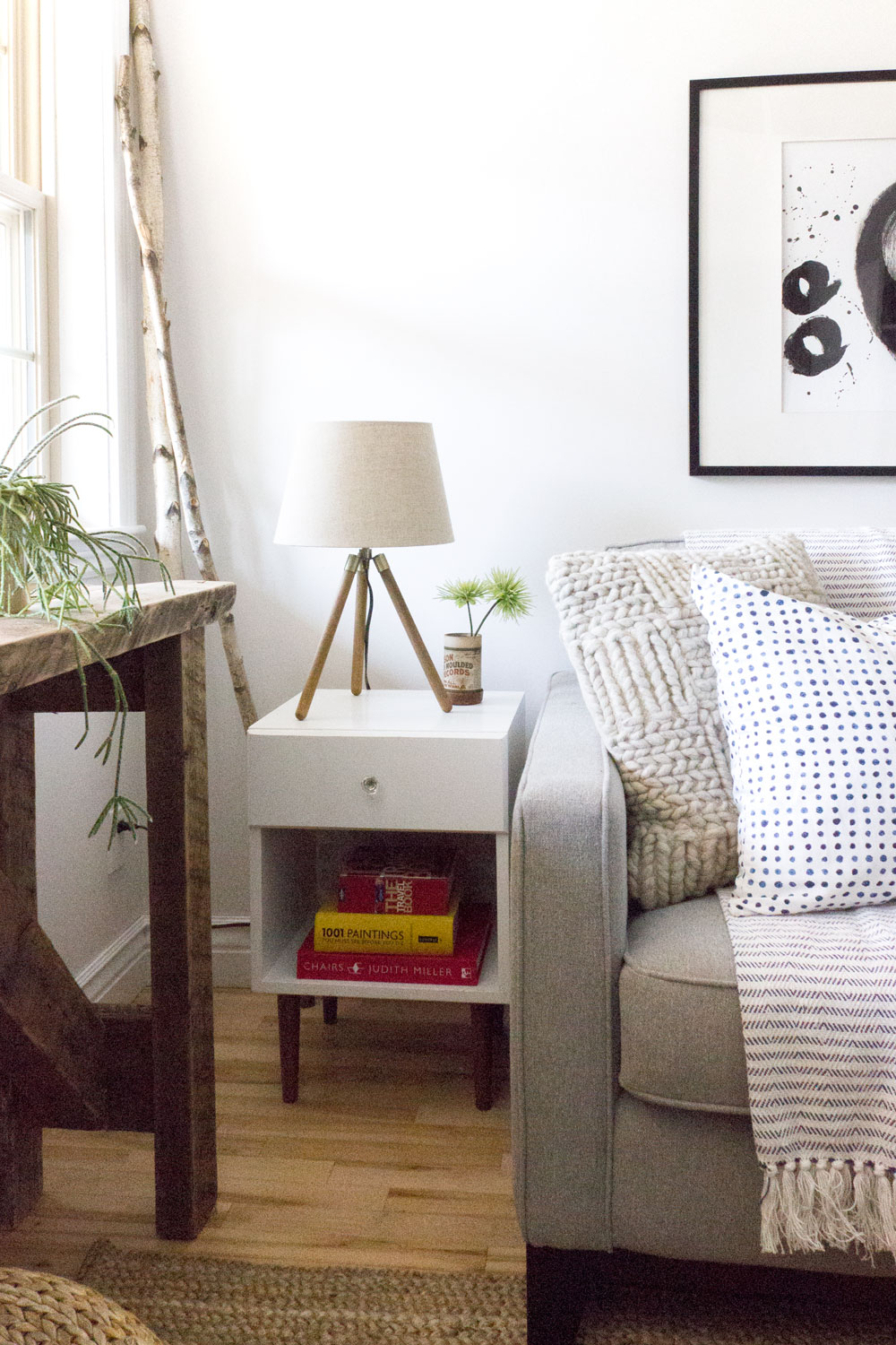 DIY thrift store mid-century end table in modern rustic living room