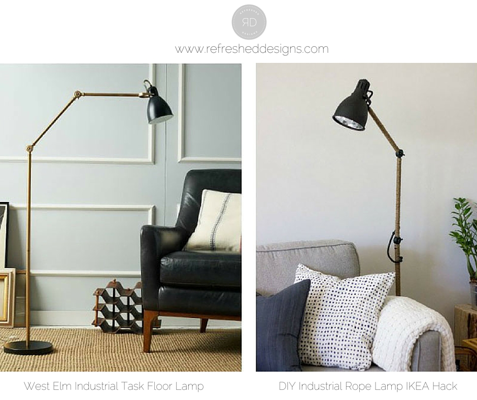 DIY West Elm Inspired Industrial Floor Lamp IKEA hack
