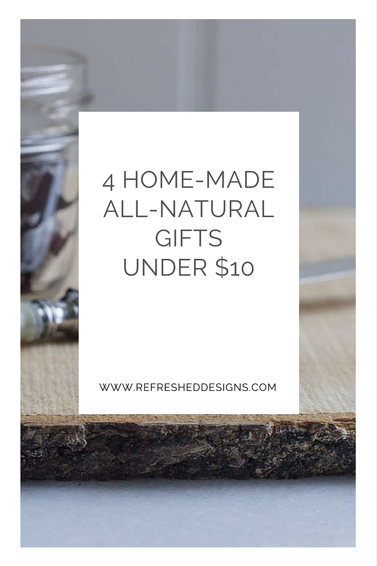 4 easy hand-made natural gift ideas.  DIY eco-gift tutorials.