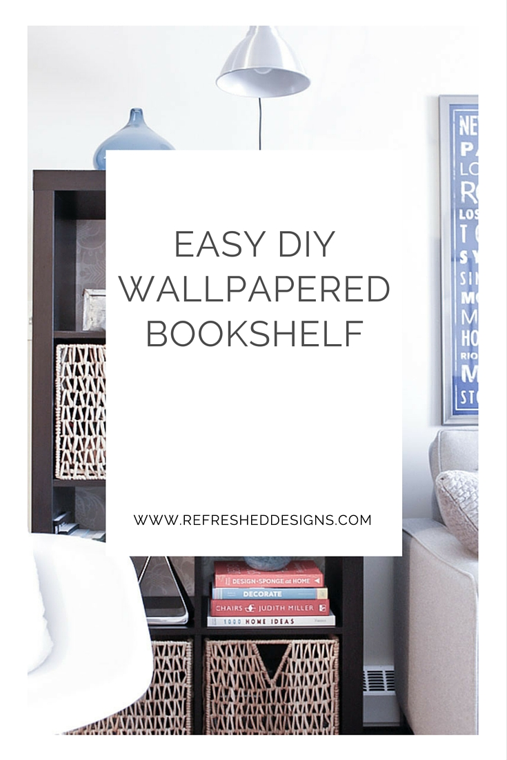 simple DIY wallpapered bookshelf