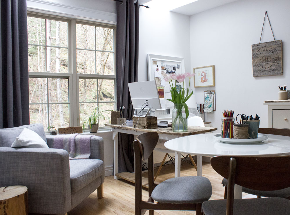 comfy chair in white home office