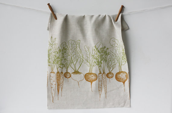 linen tea towel handmade kitchen decor