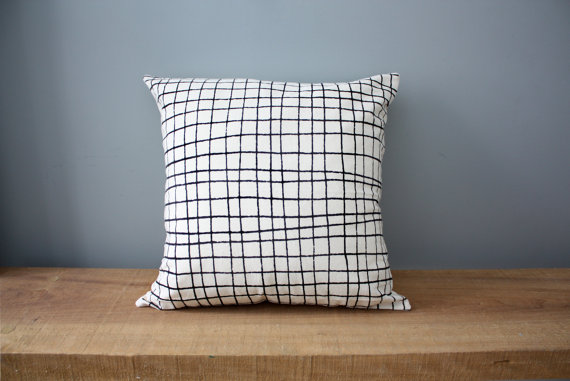 organic plaid pillow