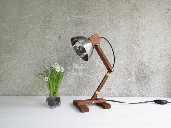 wood desk lamp Etsy