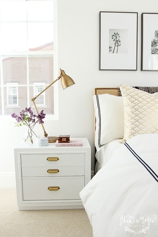 white bedroom with lots of light
