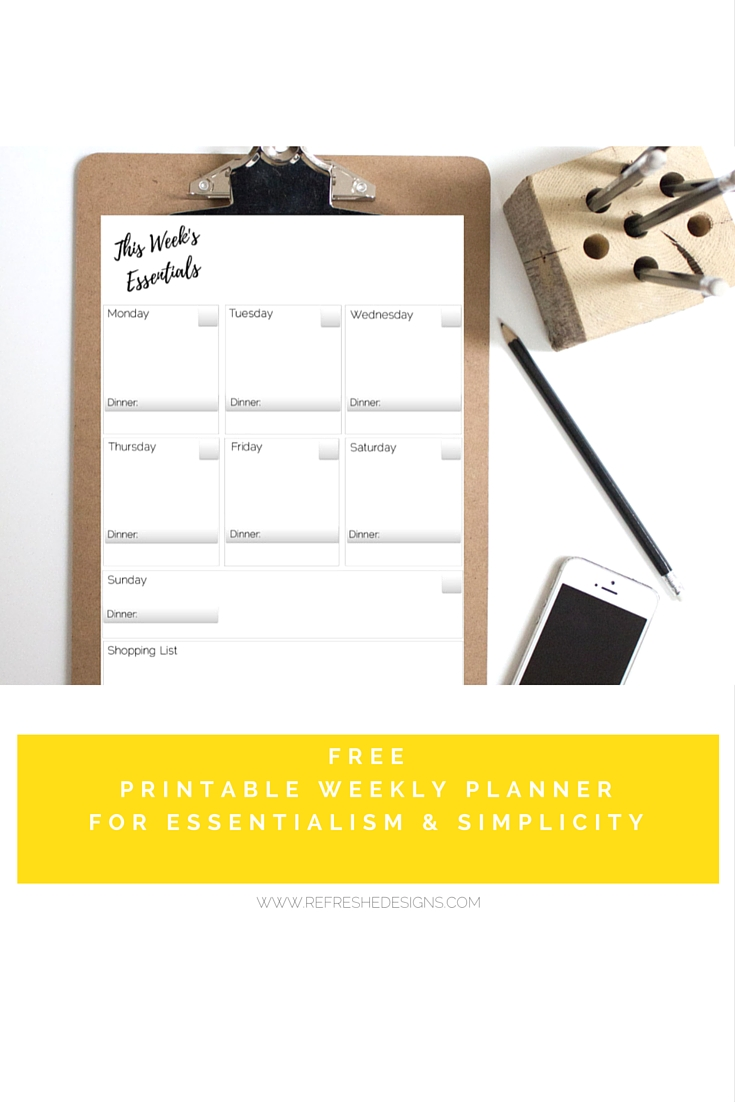 free printable weekly planner for simplicity and essentialism