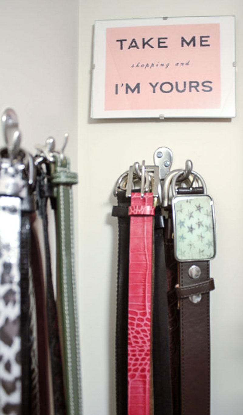 hang belts on hooks for efficient closet organization