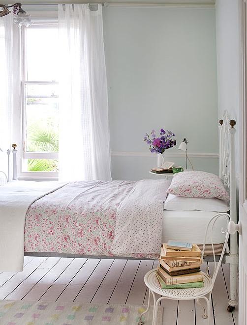 romantic white cottage guest bedroom