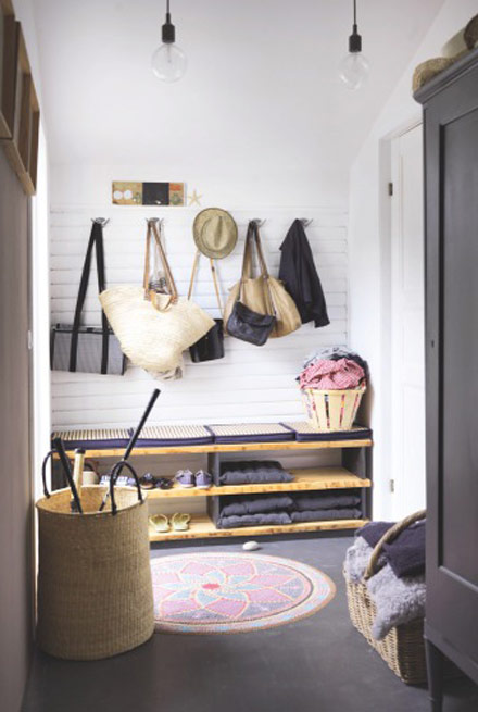 organized summer entryway