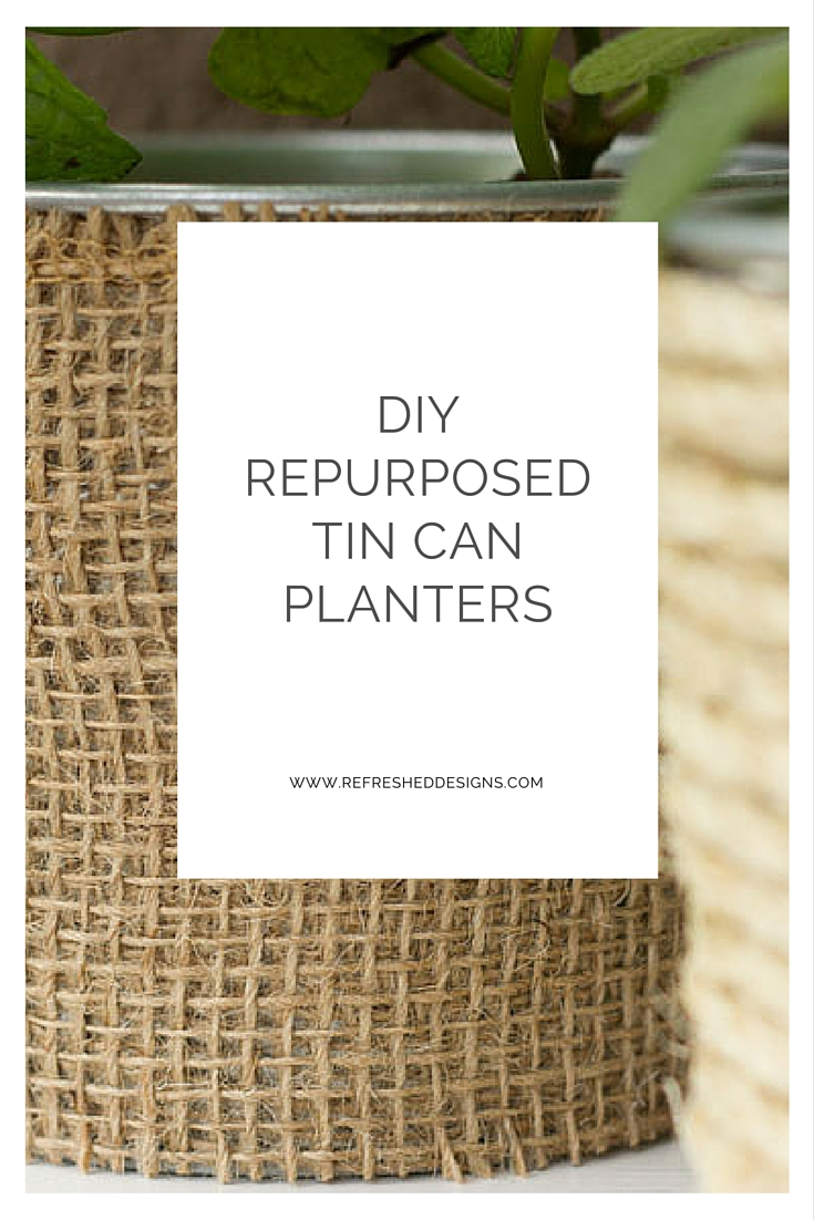 DIY repurposed tin can planters wrapped in birch bark, jute and rope