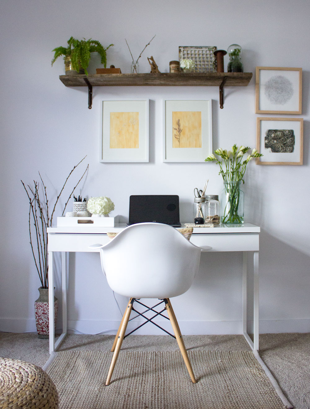 how to create space in your living room for a home office