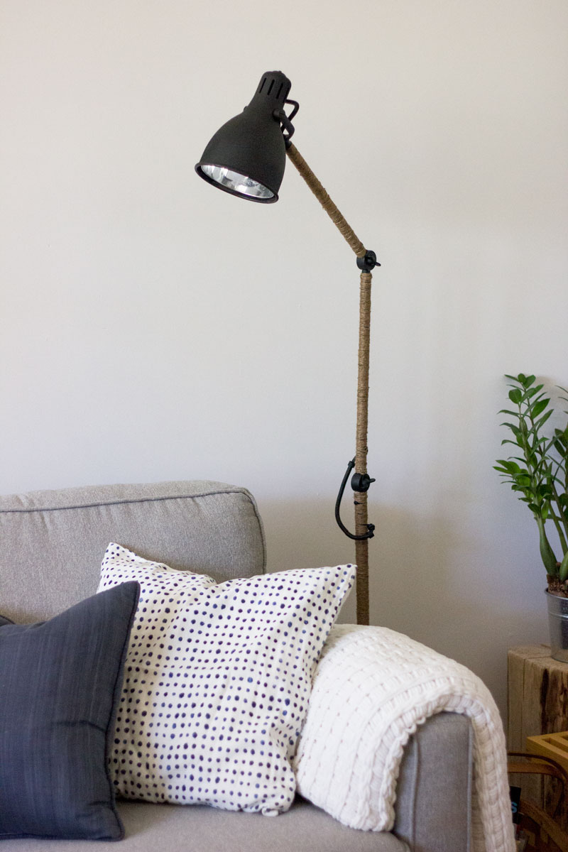 IKEA lamp hack with rope and spray paint - click for tutorial