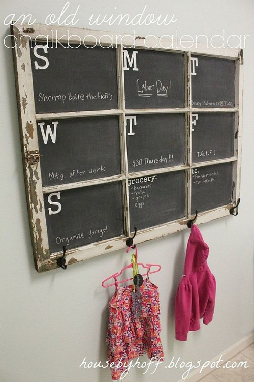 old window chalkboard family calendar DIY