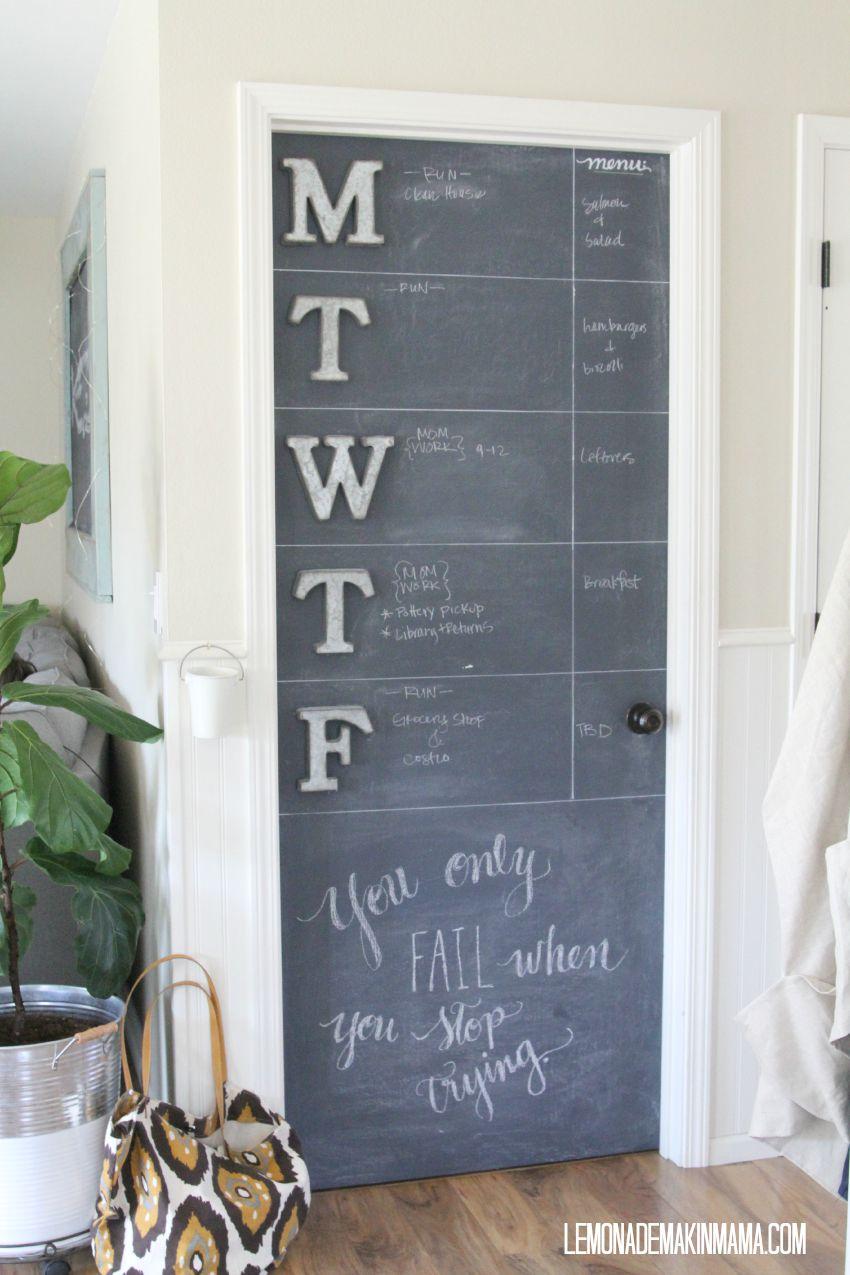 chalkboard calendar door