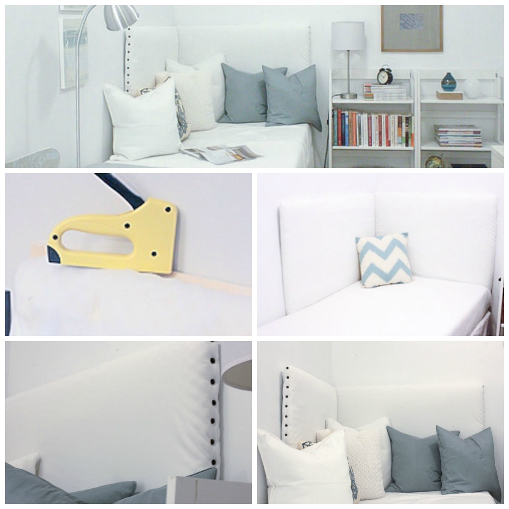 DIY corner headboard using plywood and staples