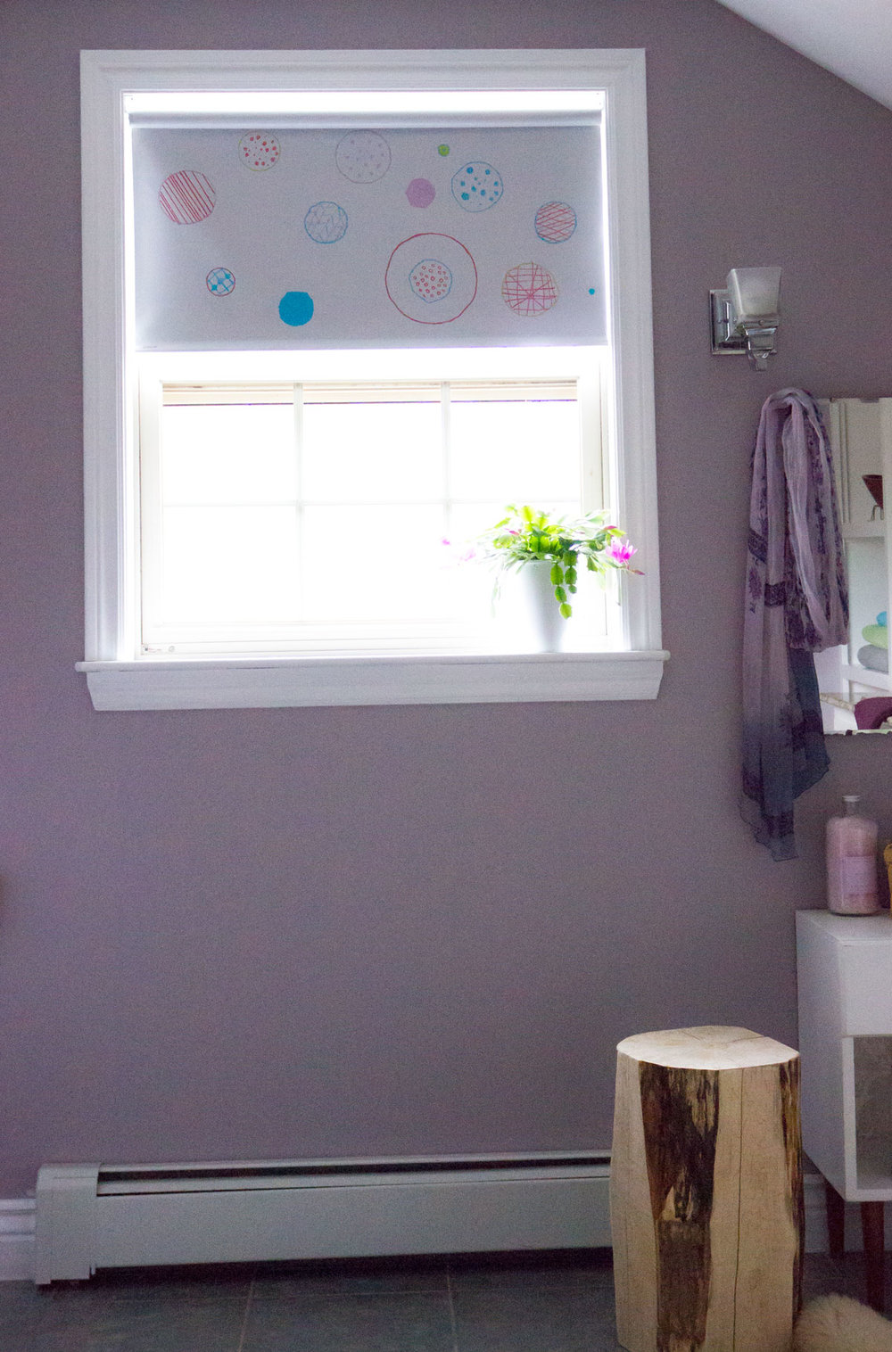 budget roller blind painted with polka dots for girls room