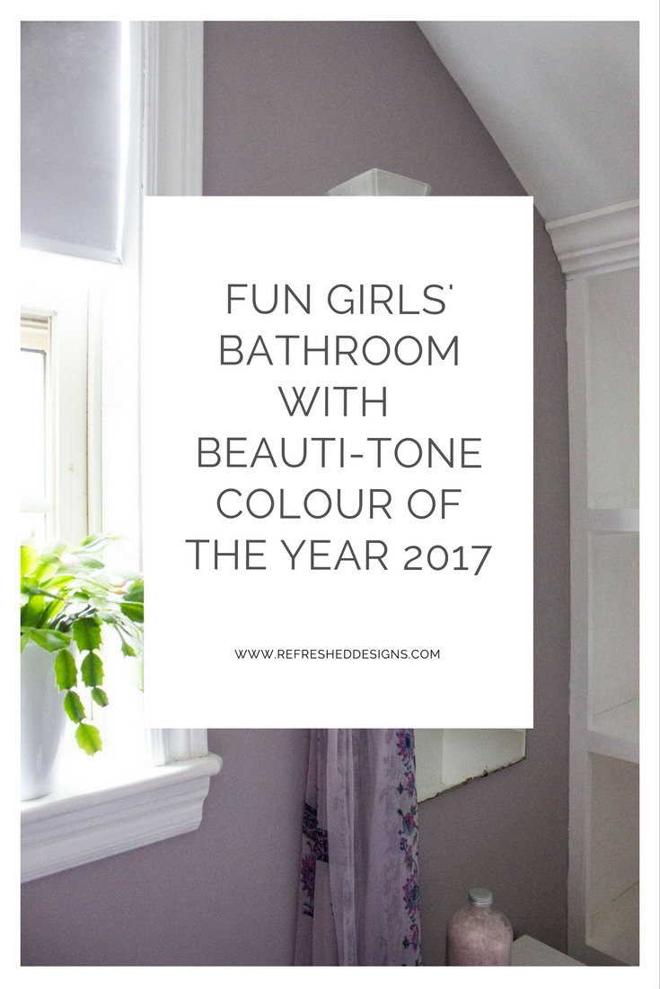 Refresheddesigns obsigen fun girls bathroom refresh with the beauti tone 2017 colour of the year geenschuldenfo Images