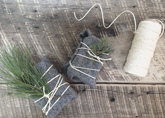 gift wrapping in felt and string - eco-gift wrap