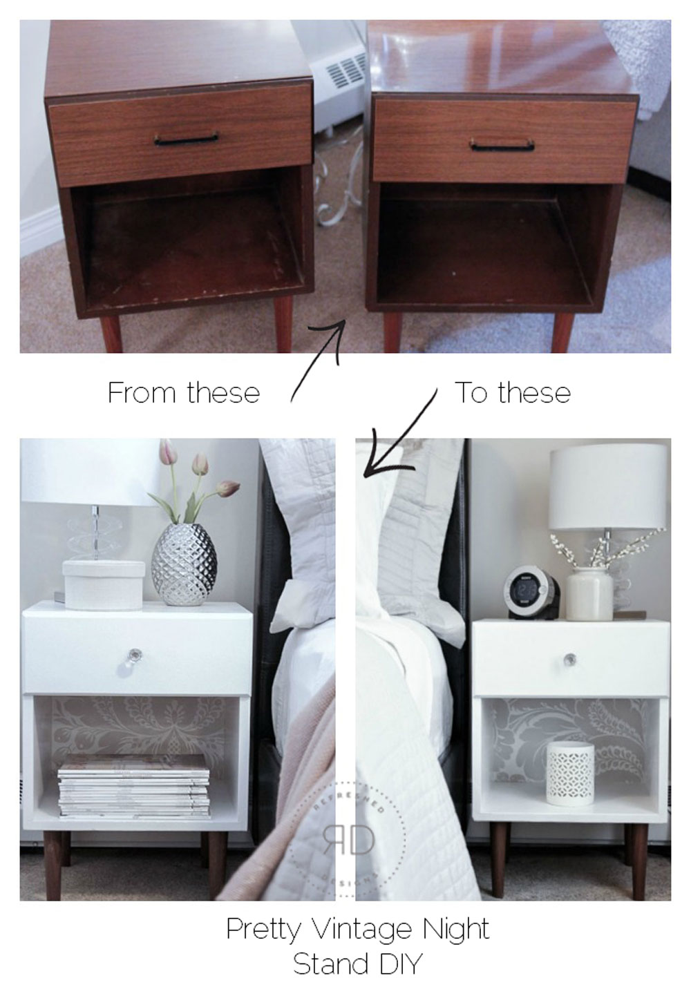 pretty vintage nightstand DIY before and after