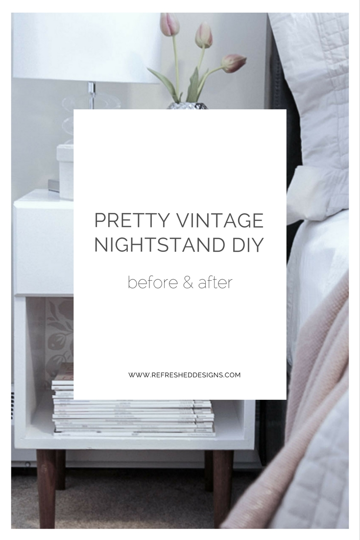 pretty vintage nightstand DIY - from thrift ugly to midcentury beauty