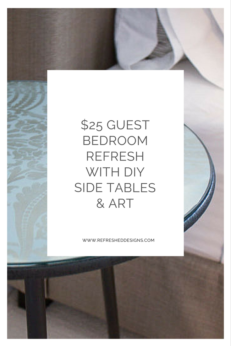 $25 guest bedroom refresh with DIY side tables and art