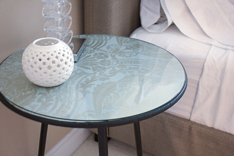DIY upcycled round side tables with wallpaper top