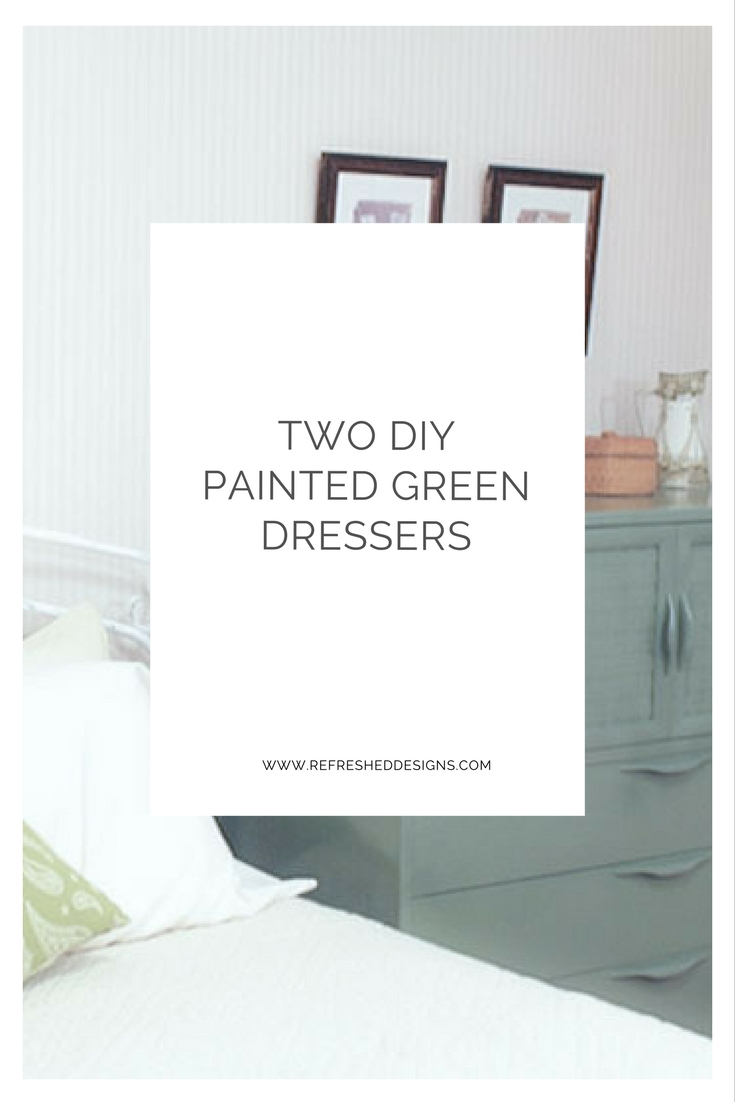 two DIY painted green dressers - budget bedroom refresh