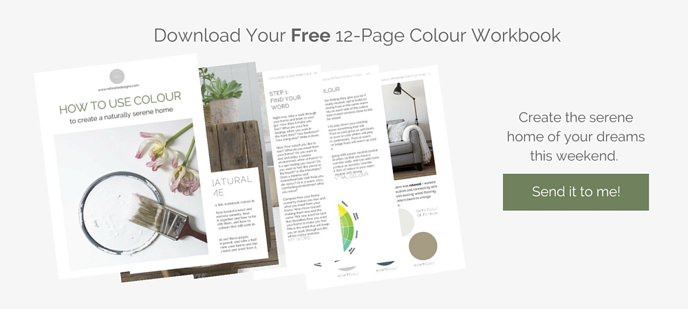 free workbook to choose colours that are serene and calming for home or office