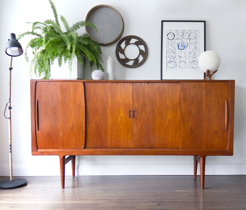 My teak credenza in the living room with simple styling