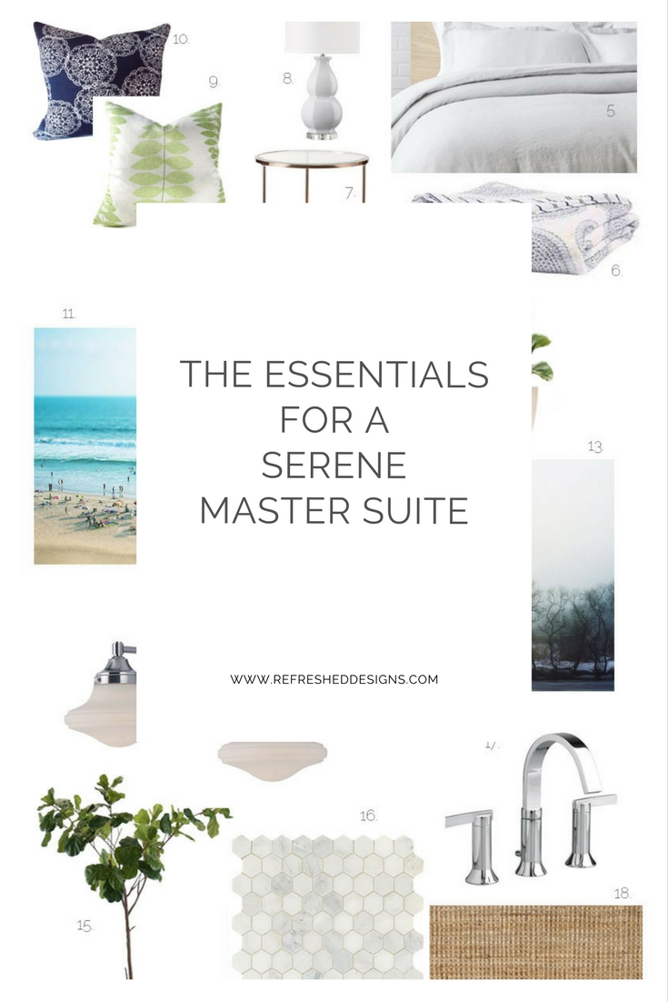 Essentials for a Serene Master Suite...with sources