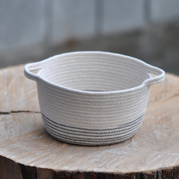 natural white rope basket bowl